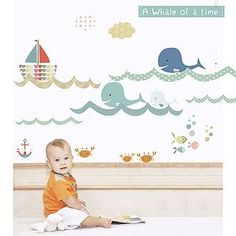 A Whale Of A Time Fabric Wall Stickers