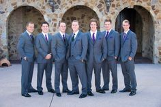 Beauty & Lifestyle Bride  Read all here http://blbride.com/a-bella-collina-eleganant-meets-southern-wedding-darian-stephan/ Groom and Grey suits, purple ties