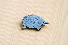 Echidna cute badge brooch pin wooden wood painted gift present idea hedgehog australia animal