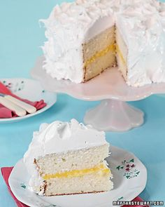 Martha Stewart's White Layer Cake.  After testing several white cake recipes, I finally tried this and it is the best. Frosting Recipes, Dessert Recipes, Cake Recipes, Coconut Frosting, Round Cake Pans, Lemon Curd, Baking Pans, Vanilla Cake, Butter