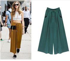 JSEO-Women's Summer Harem Pants Casual Loose Cotton Blended Pleated Pockets Solid Elastic Waist Wide Leg Pants Plus Size