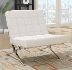 Natalie White Chair - Dramatic, contemporary leather chair