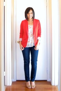 Casual Fridays: Jeans, nude pumps, floral shirt, and pink blazer