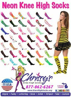 Hundreds of socks that are knee or thigh high. Socks World, Knee High Socks, Locs, Thigh Highs, Bohemian Style, Curves, Neon, Lettering, Unique