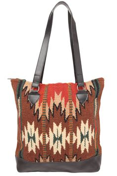 A Stylish and durable tote bag! Handwoven Wool panels in classic Zapotec styles…