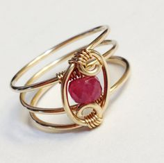 Mothers Day Gifts  Sapphire Ring    Pink by SpiralsandSpice, $32.00