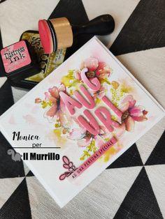 Una card semplice e delicata adatta per fare gli auguri ad amici e parenti. By Monica Polignano Distress Ink, Eat