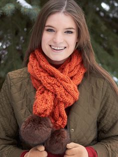 Yarnspirations.com - Bernat Snowdrift Cable Scarf - Patterns  | Yarnspirations