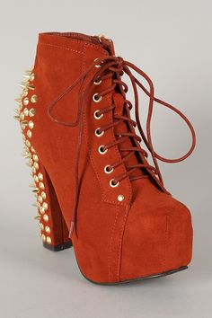 Breckelle Britney-11 Studded Spiked Lace Up Platform Bootie $43.50
