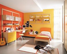 Bed Room Design Colour Bedroom color schemes are very personalthey can evoke feelings of happiness comfort warmth and much more. Color scheme plays most important role in be. Small Bedroom Colours, Best Bedroom Colors, Bedroom Paint Colors, Paint Colours, Orange Rooms, Bedroom Orange, Yellow Bedrooms, White Bedroom, Kids Bedroom Sets