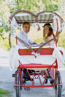 Forget a gas-guzzling limo. Our wedding transportation: a pedal-powered quadricycle!