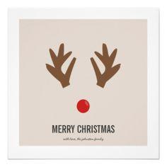 #Reindeer Nose #Christmas Photo Flat #Cards