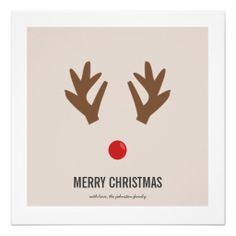 #Reindeer Nose #Christmas Photo Flat #Cards