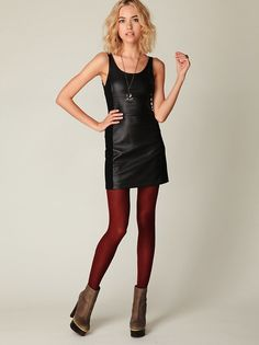 tights + leather dress