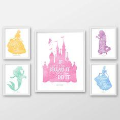 Disney wall art, Set of five, PRINTABLE ART, Disney quotes, Ariel, Rapunzel, Castle, Cinderella, Belle, Princess decor, Princess wall art.