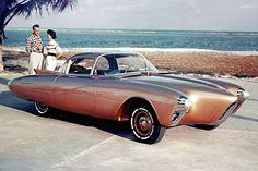 1956 Oldsmobile Golden Rocket- A lightweight, fiberglass-bodied sports coupe with a 275-hp Rocket V-8 engine.