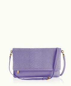 Meadow Lilac Carly Convertible Clutch | Embossed Python Leather | GiGi New York
