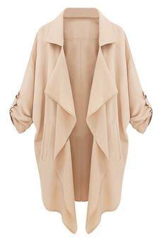 Sleeves Tab Draped Lapel Blazer - Neutral Pink - Favorable Lapel Blazer Outwear
