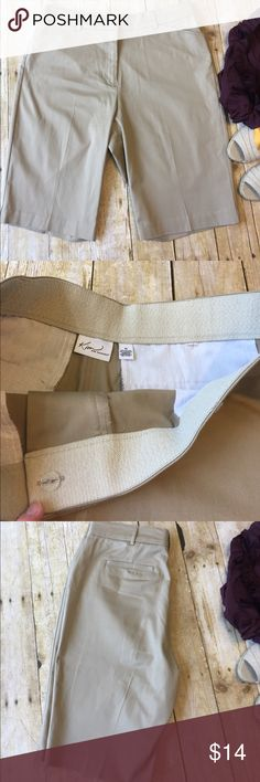 """Kim Rogers Stretch Inside Waist 12"""" khaki shorts Great condition, smoke free home. 12"""" inseam. Inside of waist has stretch band. Flat front. Pockets. 97% cotton, 3% spandex. Bundle and save. Kim Rogers Shorts Bermudas"""