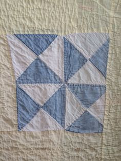 Vintage handmade quilt blue yellow & white by eddysmercantile, $100.00