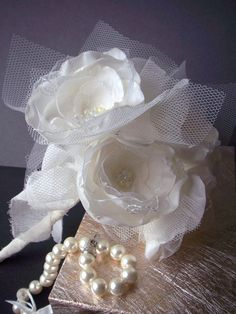 Whimsical Bridal Bouquet - handmade fiber art organza, taffeta and tulle flowers - one of a kind wedding bouquet