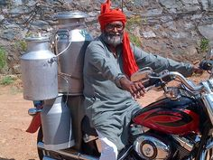So this is how he delivers milk. A die hard #HD fan from #India. #HarleyDavidson