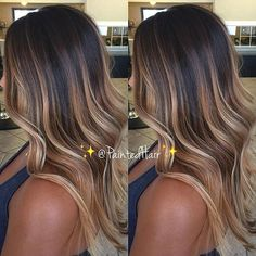 @paintedhair created the ultimate dark chocolate caramel balayage goals with…