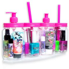 these are sooo trendy. 4 pc bath & body set. fun fact: the jars are reusable!