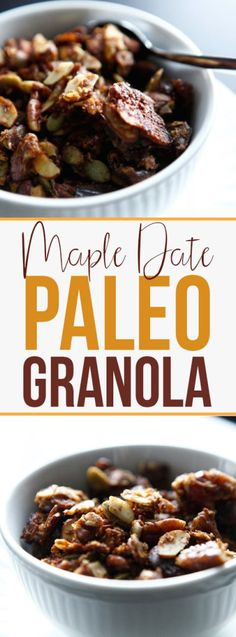 Enjoy this delicious Maple Date Paleo Granola recipe with coconut milk and fruit. It's wonderful for breakfast or brunch. Gluten free and grain free! Coconut Milk Recipes, Paleo Recipes, Low Carb Recipes, Delicious Recipes, Paleo Breakfast, Breakfast Recipes, Paleo Granola Recipe, Paleo Dessert, Snacks