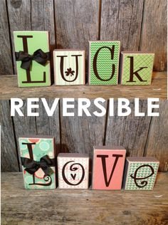 Items similar to REVERSIBLE valentine/ st patricks day decor LOVE/ LUCK blocks family home wood block set holiday decor on Etsy Valentine Decorations, Valentine Day Crafts, Holiday Crafts, Holiday Fun, Holiday Signs, Christmas Signs, Spring Crafts, Christmas Decor, Craft Day