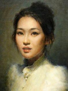 """Self-Portrait"" - Faye Hsu, concept animator {contemporary figurative art beautiful female head asian woman face painting} fayehsu.blogspot.com"
