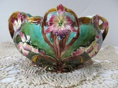 in Pottery & Glass, Pottery & China, Art Pottery I love majolica. Can you tell I love flowers, too?