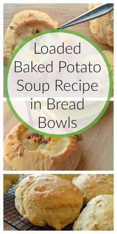 Loaded Baked Potato Soup Recipe in Bread Bowls soup soup soup healthy recipes froide legumes minceur potimarron Ham And Potato Soup, Loaded Baked Potato Soup, Sweet Potato Fiber, Soup Recipes, Cooking Recipes, Cooking Ideas, Yummy Recipes, Food Ideas, Yummy Food