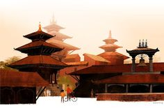 katmandu city illustration