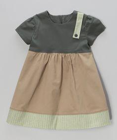 This Anna Bouché Green & Tan Stripe Dress - Toddler & Girls by Anna Bouché is perfect! #zulilyfinds