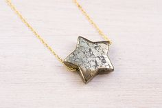 Star Necklace, pyrite necklace, star jewelry, space jewelry, shooting star, gold necklace, eco friendly jewelry Star Necklace, Arrow Necklace, Gold Necklace, Space Jewelry, Lust, Eco Friendly, Jewels, Stars, Sterling Silver