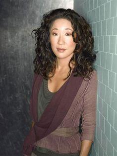 sandra oh, Christina yang from Grey's anatomy. She has perfect hair.