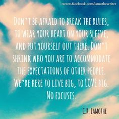 Don't be afraid to break the rules... to wear your heart on your sleeve... and put yourself out there... Don't shrink who you are to accommodate the expectations of other people... We're here to live big... To love big... No excuses...