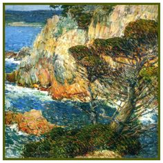 Sea and Surf at Point Lobos detail by American Impressionist Painter Childe Hassam Counted Cross Stitch or Counted Needlepoint Pattern