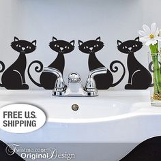 Animal Vinyl Wall Cat Decal Set of 4 Black Cats with by Twistmo, $20.00