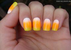 inSANEnails: Halloween nail art challenge 2013 - candy corn #Halloween #nailart #nails #candycorn #gradient