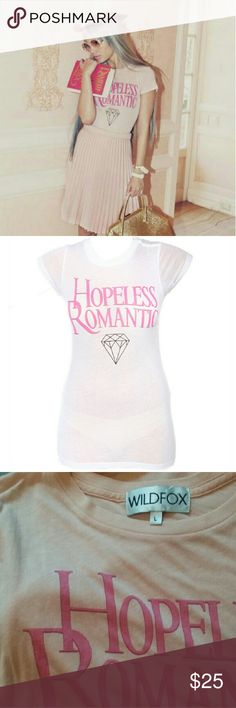 Wildfox Hopeless Romantic PINK Skinny Tee Like new. Size large. Pale pink. Wildfox Tops Tees - Short Sleeve