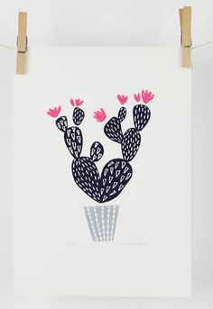Cactus screen print available from maggiemagoo designs