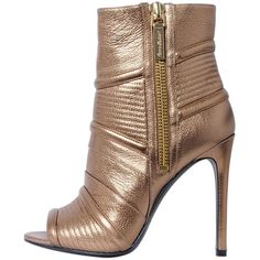 PIERRE BALMAIN 110mm Metallic Leather Ankle Boots ($675) ❤ liked on Polyvore featuring shoes, boots, ankle booties, heels, gold, leather booties, high heel bootie, short leather boots, high heel boots and biker boots