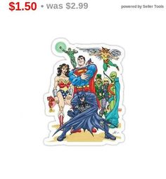 Total SALE Justice League Vinyl Sticker Statement Sticker Batman Stickers, Justice League, Unique Jewelry, Handmade Gifts, Vintage, Etsy, Kid Craft Gifts, Craft Gifts, Costume Jewelry