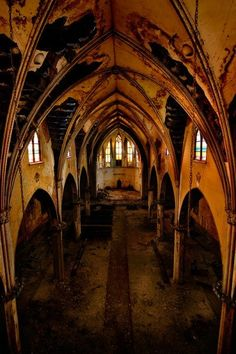"Abandoned Church of Transfiguration, Buffalo, New York.  ""Do you walk these halls alone? Or hand in hand with a ghostly friend?"""