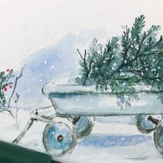 NEW VIDEO! Watch Bonnie design a Christmas Tree fresh from the forest being hauled away in a wagon! You will love this simple project,… Watercolor Christmas Tree, Christmas Paintings, Christmas Art, Christmas Ideas, Xmas, Watercolor Cards, Watercolor Ideas, Art Impressions Stamps, Forest Painting