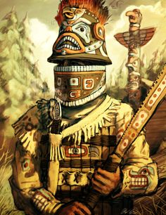 Native American Tlingit/Haida Warrior from the Pacific Northwest by LordGood on DeviantArt North American Tribes, Native American History, Native American Indians, Native American Warrior, Arte Haida, Inka, Tlingit, Historical Art, Fantasy Armor