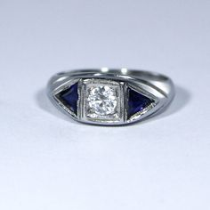 Art Deco ring with #sapphires & a #diamond