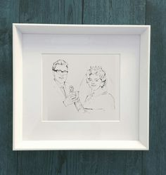 Illustrated for a lovely couple celebrating their anniversary. Unique Wedding Gifts, Unique Weddings, Wedding Illustration, Anniversary, Frame, Couple, Decor, Picture Frame, Decoration